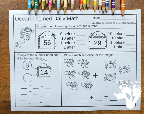 No Prep Ocean Addition & Subtraction and Multiplication & Division - 30 pages no-prep printables with a mix of addition and subtraction or multiplication and division activities plus a math center activities - 3Dinosaurs.com #noprepmath #tpt #addition #subtraction #multiplication #division