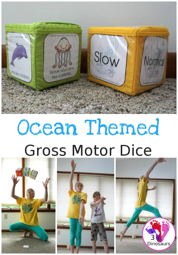 Free Ocean Themed Gross Motor Dice -6 movments in the ocean with a speed dice - 3Dinosaurs.com #freeprintable #grossmotor #3dinosaurs