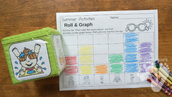 Free Summer Roll & Graph - works on graphing or numbers 1 to 30 with a fun Summer theme - 3Dinosaurs.com