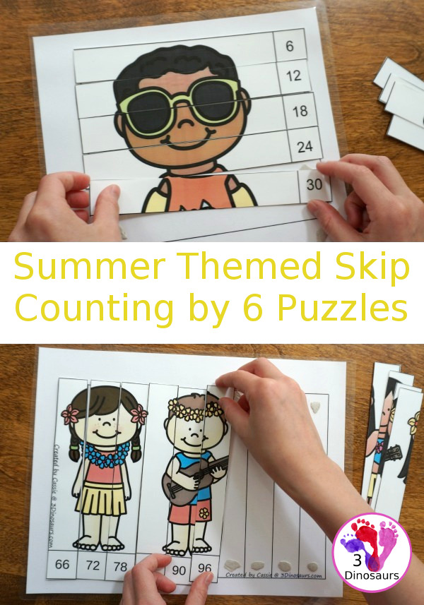 Free Hands-On Learning with Summer Skip Counting by 6 Puzzles - work on skip counting by 6 with these fun puzzles. - 3Dinosaurs.com #freeprintable #mathforkids #skipcounting #3dinosaurs