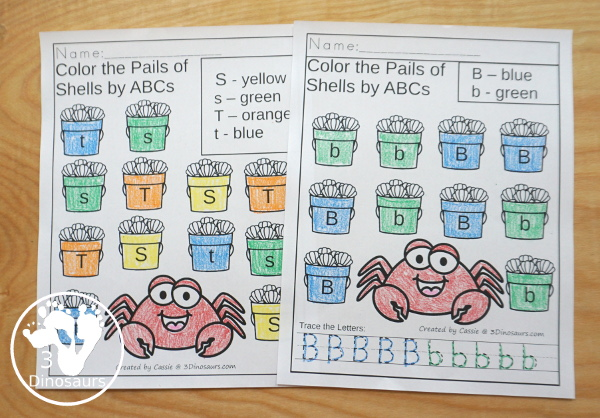 Beach Activity Pack: ABCs with no-prep pages, clip cards for uppercase only and matching uppercase and lowercase and three types of ABC tracing strips. - 3Dinosaurs.com