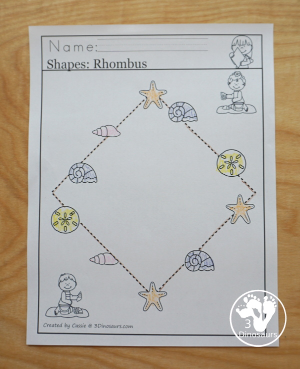 Beach Activity Pack: Shapes with no-prep tracing pages, clip cards, easy reader book and tracing strips - 3Dinosaurs.com