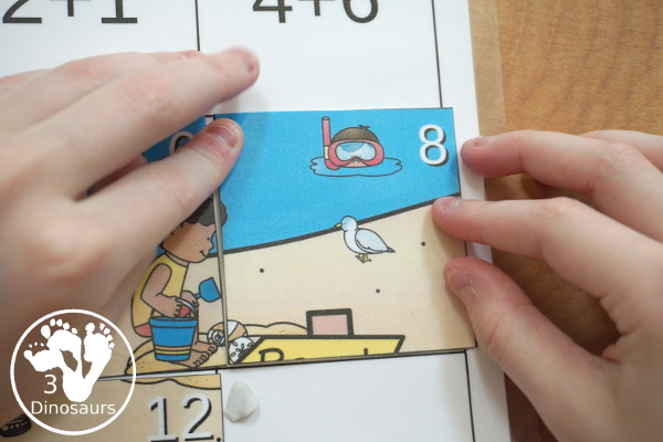Free Beach Themed Addition Puzzle - with addition from 1 to 12 with a hands-on matching puzzles with a beach scene. - 3Dinosaurs.com