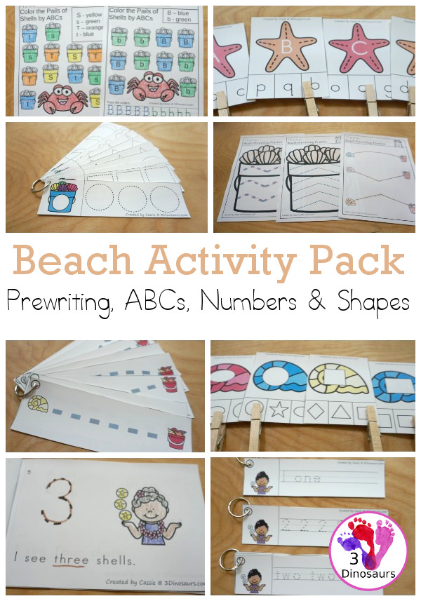 Beach Activity Pack: Prewriting, ABCs, Shapes, & Numbers - a fun activity pack with 189 pages of printables with a mix of no-prep, easy reader books and clip cards for learning with a beach and shell theme for kids to try out and learn with printables that all work together.  - 3Dinosaurs.com