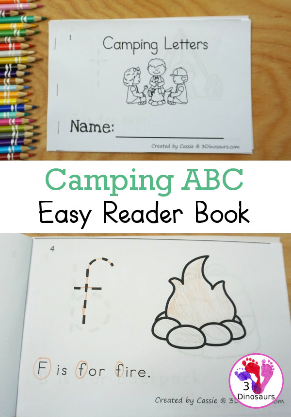 Free Camping Theme ABC Easy Reader Book - a simple 10 page book to use with kids while working on lowercase letters and simple sentence reading - 3Dinosaurs.com