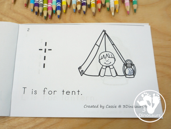 Free Campin Theme ABC Easy Reader Book - a simple 10 page book to use with kids while working on lowercase letters and simple sentence reading - 3Dinosaurs.com