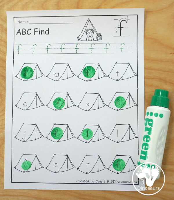 Camping ABC Find with all 26 letters in uppercase or lowercase options - 3Dinosaurs.com