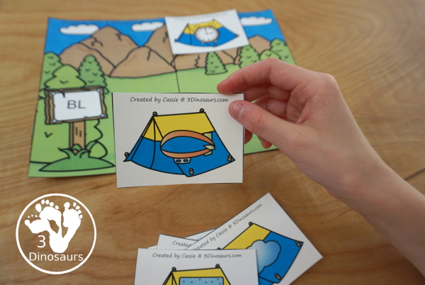 Free Camping Themed L Blends Sorting with 6 sorting mats and 3 cards for each mat - 3Dinosaurs.com