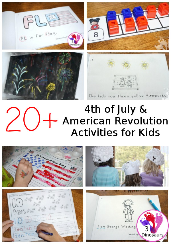 4th of July and American Revolution Printables & Activities for kids - 3Dinosaurs.com