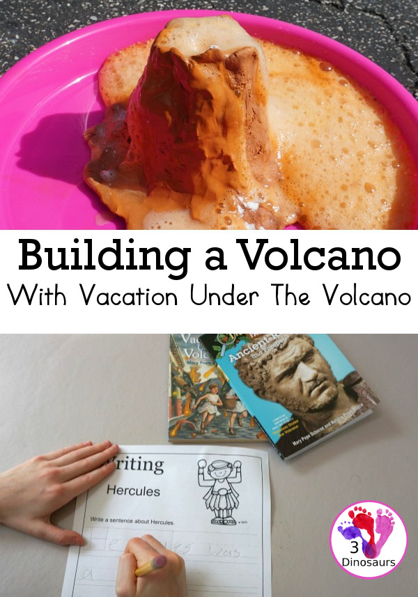 Building a Volcano with Vacation Under The Volcano - a fun science activity for kids to do with the Magic Tree House Book Vacation Under the Volcano - 3Dinosaurs.com