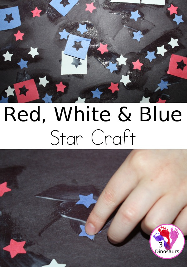 Red, White & Blue Star Craft - a fun punch crafts that is easy to do for kids of various ages. - 3Dinosaurs.com