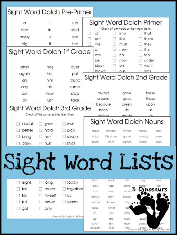 Sight Word Dolch Lists all 220 dolch sight words and 95 nouns - 3Dinosaurs.com