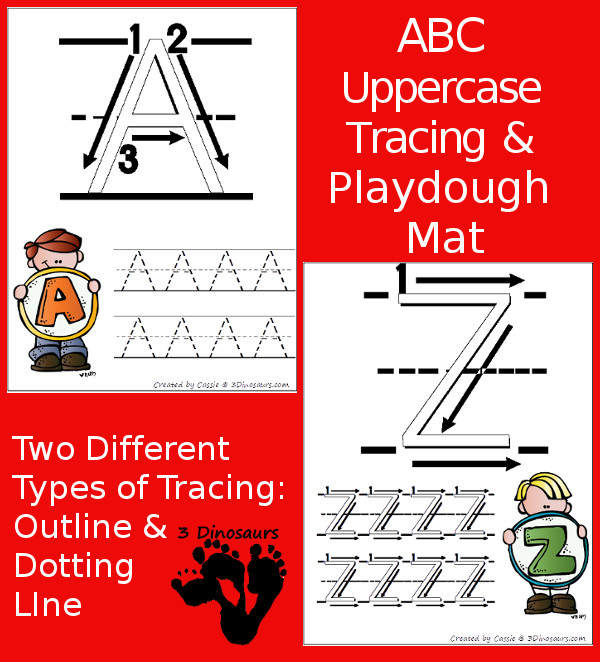 New Free ABC Uppercase Tracing Pages with Playdough Mats!