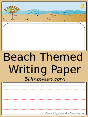 Free Beach Themed Writing Paper - 3Dinosaurs.com