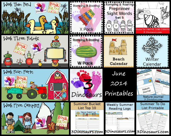 Thank You June 2014 & Printables From June Round Up - 3Dinosaurs.com