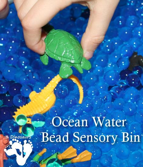 Ocean Water Bead Sensory Bin - 3Dinosaurs.com