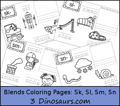 Free Blends Coloring Pages Sk Sl Sm Sn 3 Dinosaurs