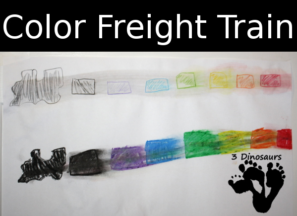 Color Freight Train - two types of color mixing - 3Dinosaurs.com