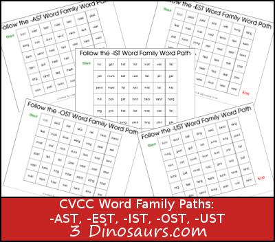 Free CVCC Word Family Dot Marker: -AST, -EST, -IST, -OST, -UST - 3Dinosaurs.com