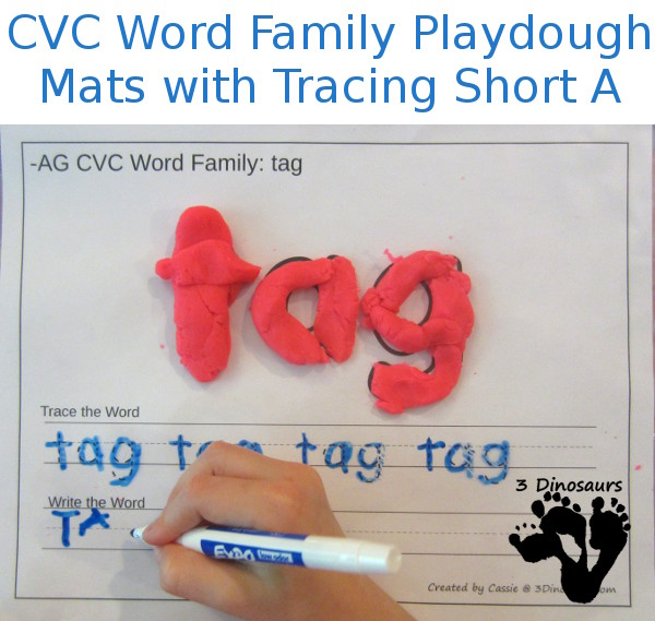 CVC Word Family Playdough Mats With Tracing: Short A