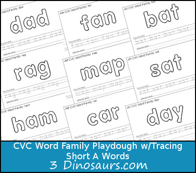 New CVC Word Family Playdough Mats With Tracing: Short A - 3Dinosaurs.com
