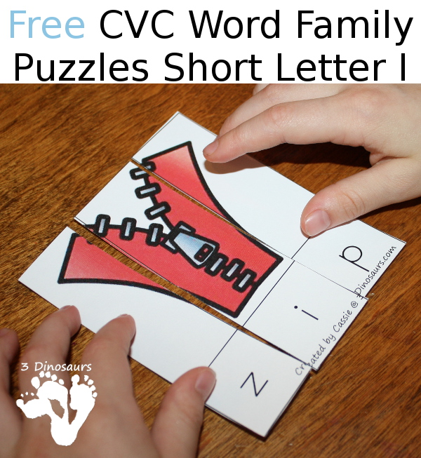 Free Cvc Word Family Puzzles Short I on Bond Number Lessons