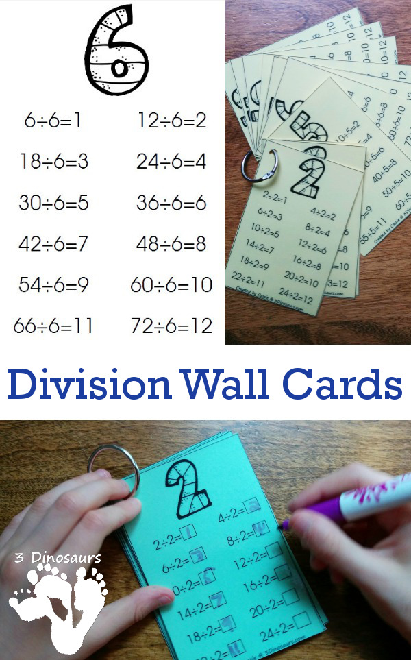 Free Division Wall Cards: 2 Types - 3Dinosaurs.com