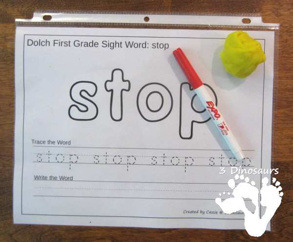 Free Dolch First Grade Sight Words Playdough Mats with Tracing - 3Dinosaurs.com