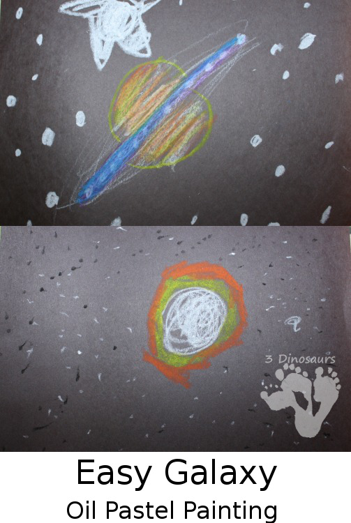 Easy Galaxy Oil Pastel Painting - a fun galaxy activity for kids - 3Dinosaurs.com