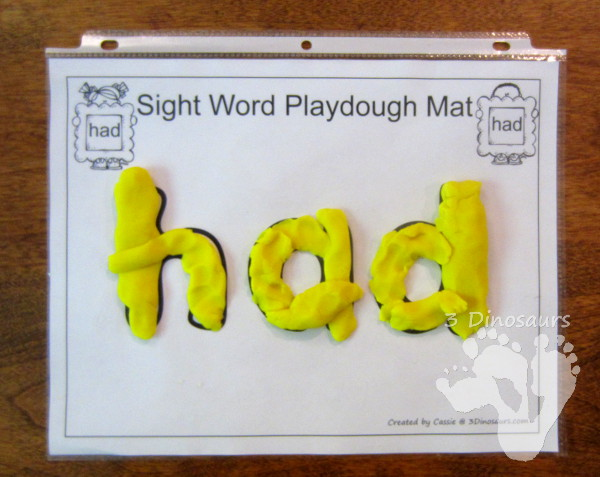 Romping & Roaring First Grade Sight Words: Playdough Mats - 3Dinosaurs.com