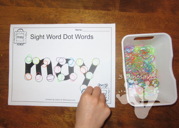 Romping & Roaring First Grade Sight Words: Dot the Sight Word - 3Dinosaurs.com