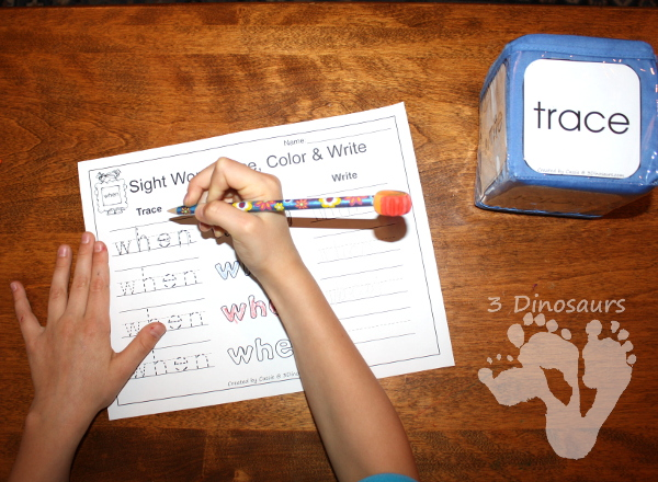Romping & Roaring First Grade Sight Words: Trace, Color & Write - 3Dinosaurs.com