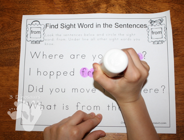 Romping & Roaring Primer Sight Words: Find Sight Word in the Sentences - 3Dinosaurs.com