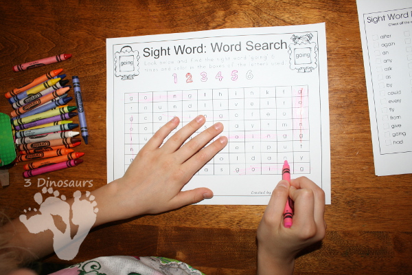 Romping & Roaring First Grade Sight Words: Sight Word Word Search- 3Dinosaurs.com