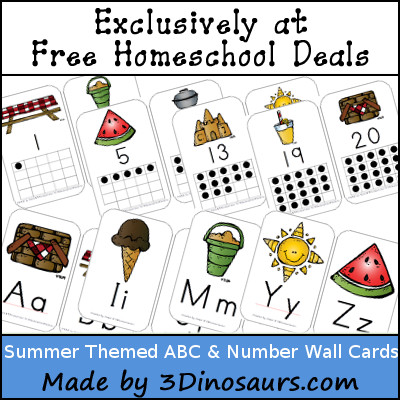 Free Summer Themed ABC & Number Wall Cards - 3Dinosaurs.com