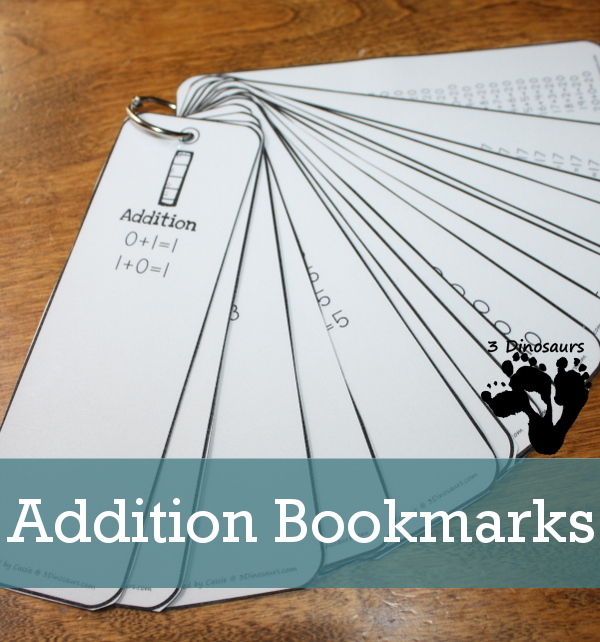 Free Addition Bookmarks - Numbers 1 to 20 - 3Dinosaurs.com