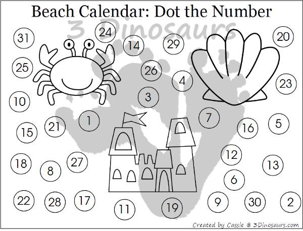 Free 2016 Beach Calenader - 3Dinosaurs.com
