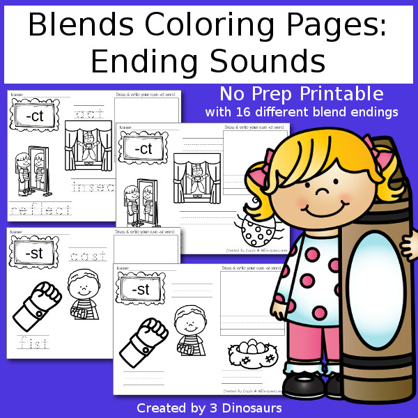 End Blends Coloring Pages $  - 3Dinosaurs.com