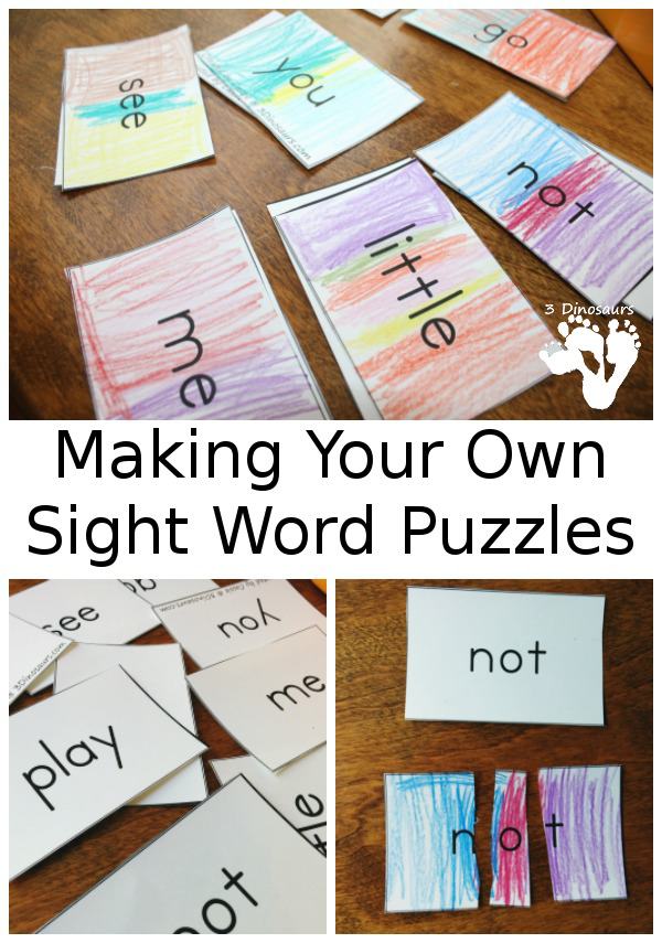 making your own sight word puzzles 3 dinosaurs