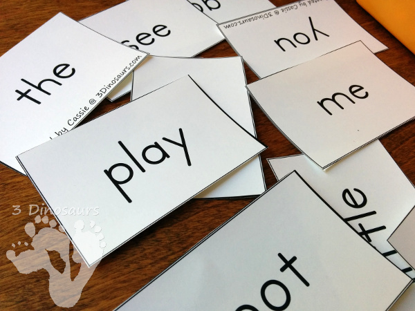Making Your Own Sight Word Puzzles - hands on activity for kids using sight words - 3Dinosaurs.com