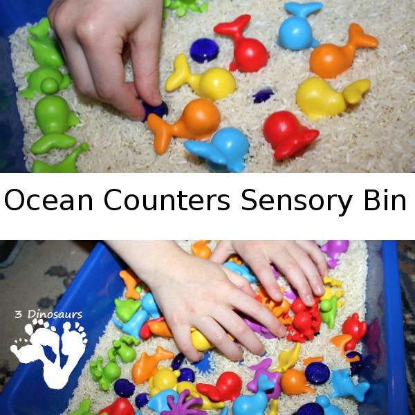 Ocean Counters Sensory Bin - a fun and easy to set up sensory bin with an ocean theme  - 3Dinosaurs.com
