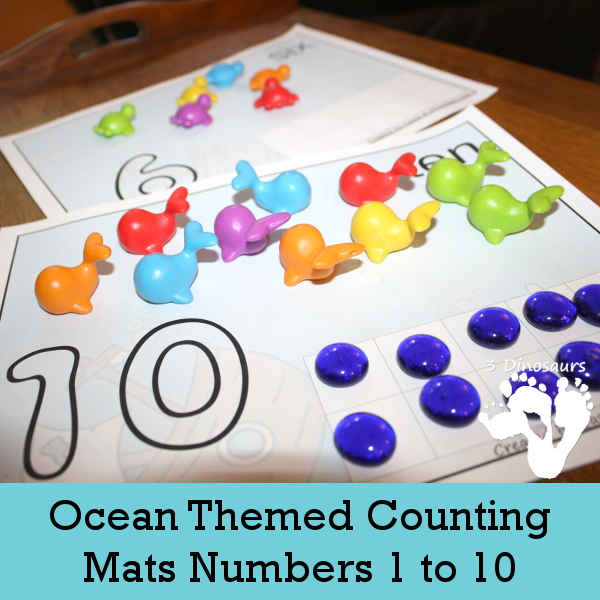 Free Ocean Themed Counting Mats: Number 1 to 10  - 3Dinosaurs.com
