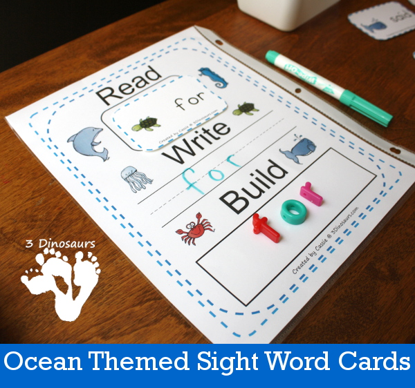 Ocean Themed Sight Word Cards - 3Dinosaurs.com
