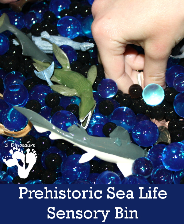 Prehistoric Ocean Animals Water Bead Sensory Bin - 3Dinosaurs.com
