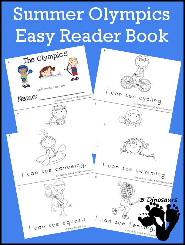 FREE Summer Olympic Easy Reader Book - 8 page easy to ready books for the Summer Olympics - 3Dinosaurs.com