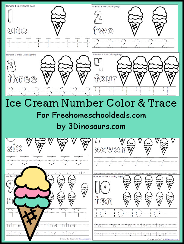 Free Ice Cream Themed Number Color & Trace - Numbers 1 to 10 - 3Dinosaurs.com