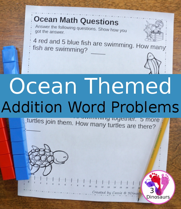Free No-Prep Ocean Themed Addition Word Printables - 3Dinosaurs.com