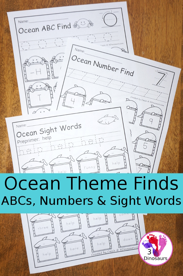 No-Prep Ocean Themed Finds: ABCs, Numbers & Sight Words - easy no-prep printables with a fun ocean theme for ABCs, Numbers, and Sight Words: Dolch Preprimer and Primer $ - 3Dinosaurs.com
