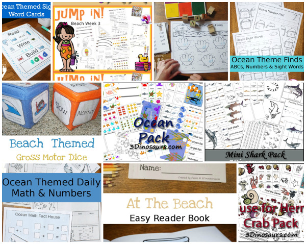 75 + Ocean & Beaches Activities, Printables, Books and and more - 3Dinosaurs.com