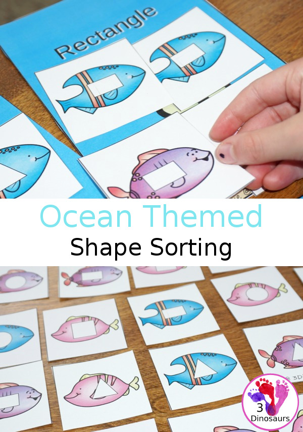 Free Hands-On Shape Sorting with Ocean Fish - with circle, square, triangle, and rectangle - 3Dinosaurs.com
